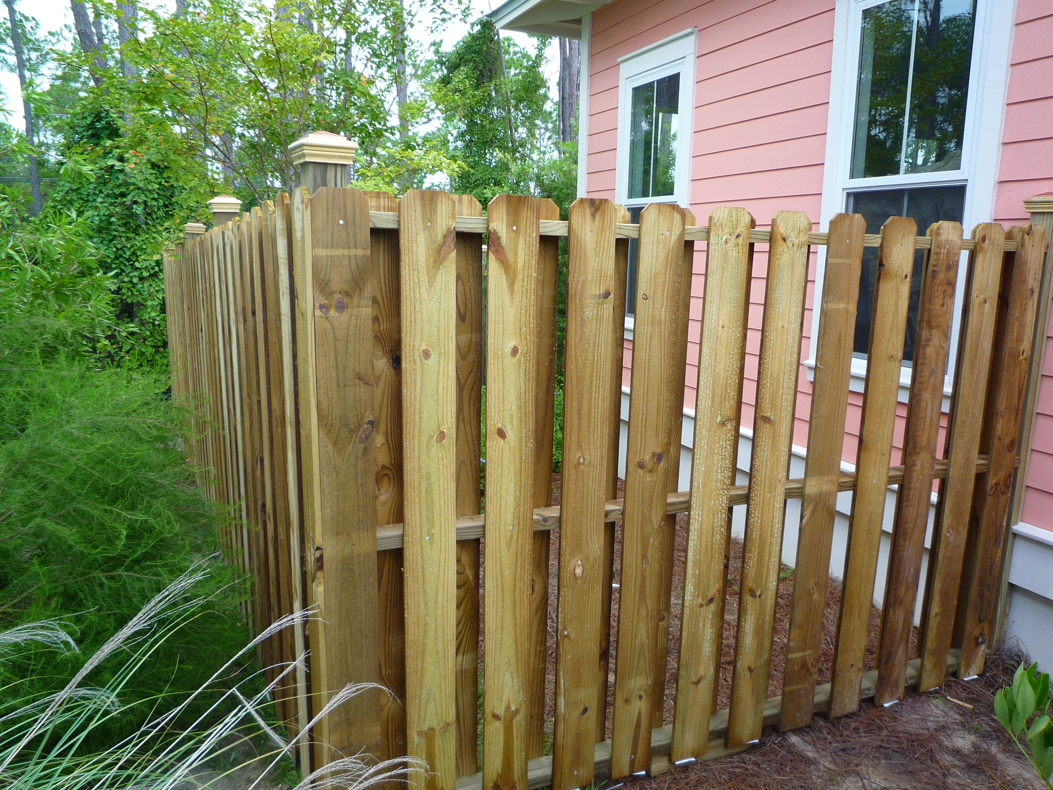 approved fence design 6 foot shadow box with 1x6 dog ear slats with 35 inch gap